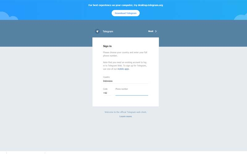 login telegram web